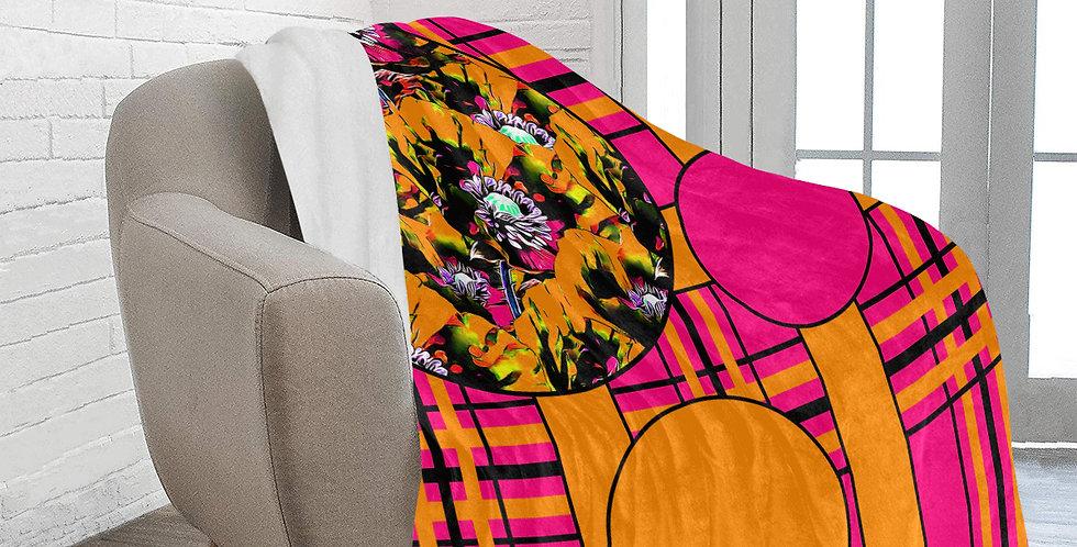 Tartan & Poppies - Orange & Pink - Pattern - Blanket