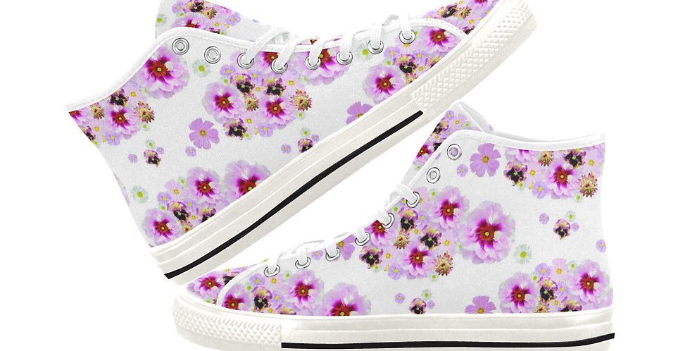 Cotton Candy Floral -  Women's High Top Canvas Sneakers