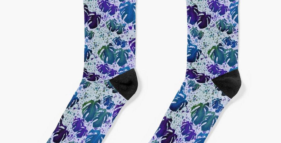 Monstera Leaves Got the Blues - Socks