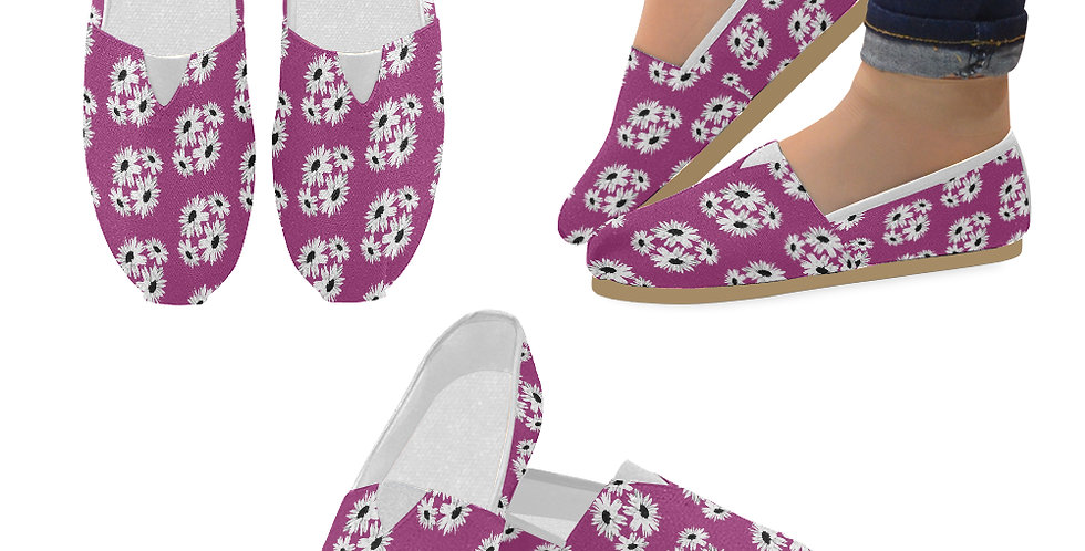 Bunch of Daisies Pink (small print) - Slip On Canvas Shoes