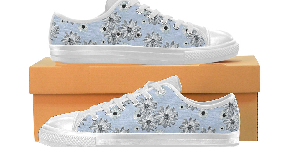 Floral Blue - Women's Canvas Sneakers