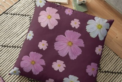 Cosmos and Wine Cushion Cover