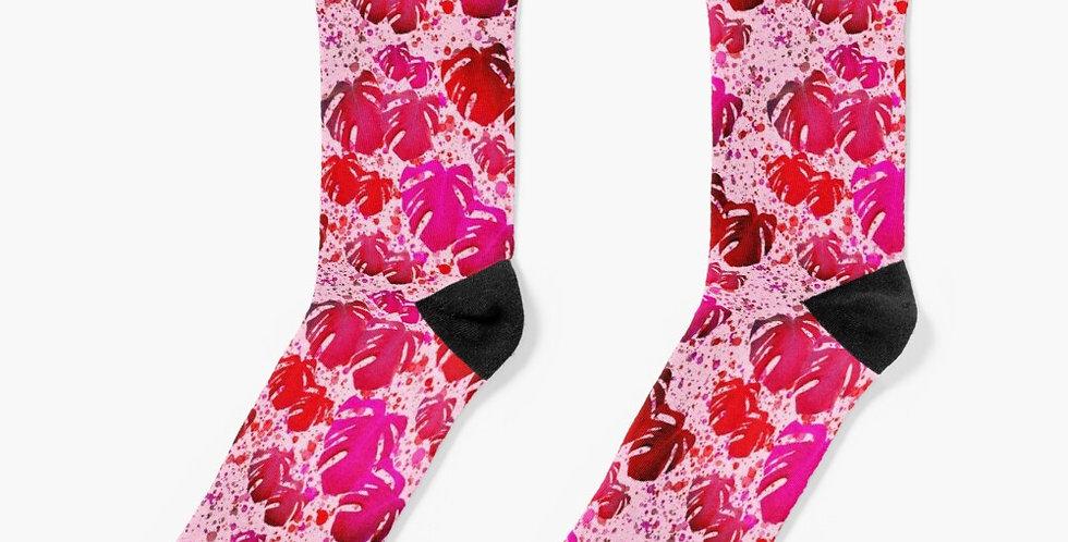 Monstera Leaves Tickled Pink - Socks