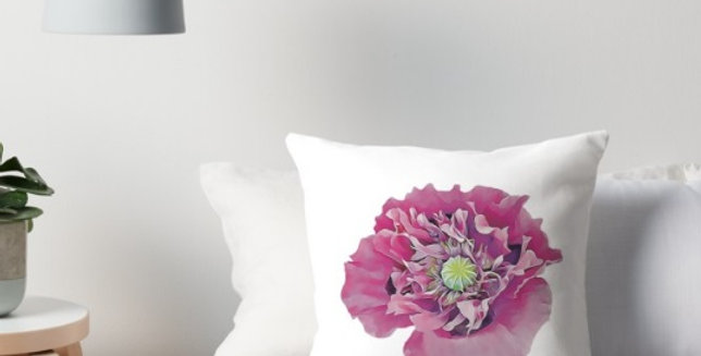 Pink Poppy on a White Background - Cushion Cover