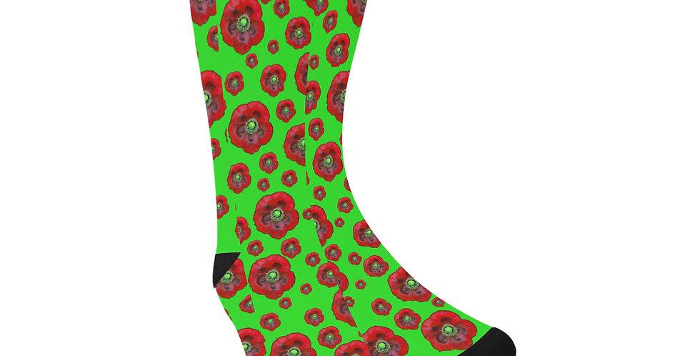Poppies Green/Red - Unisex Socks (Made in Australia)