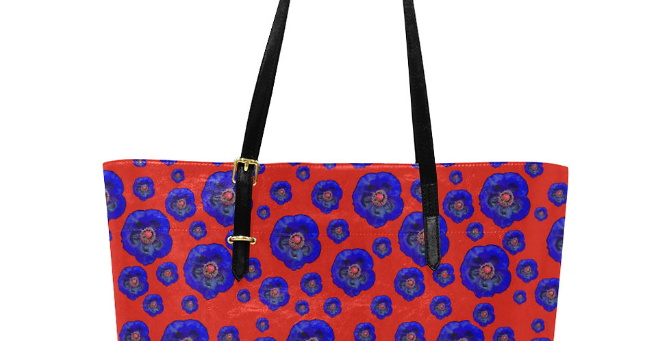 Flower Power Red & Blue - Large Tote Bag