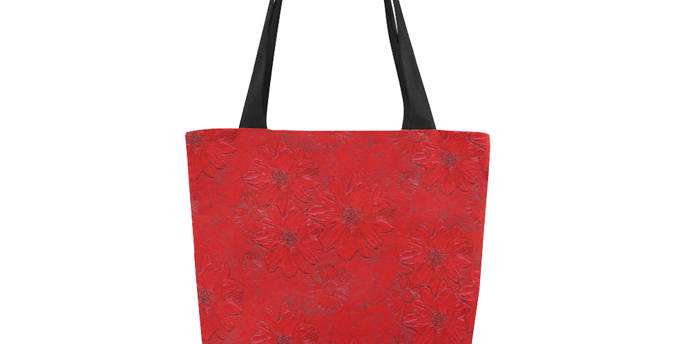 Red Embossed Floral - Tote Bag