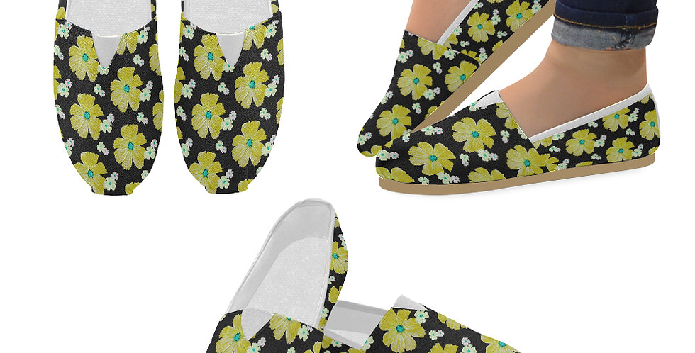 Cosmos Chaos Yellow - Slip On Canvas Shoes