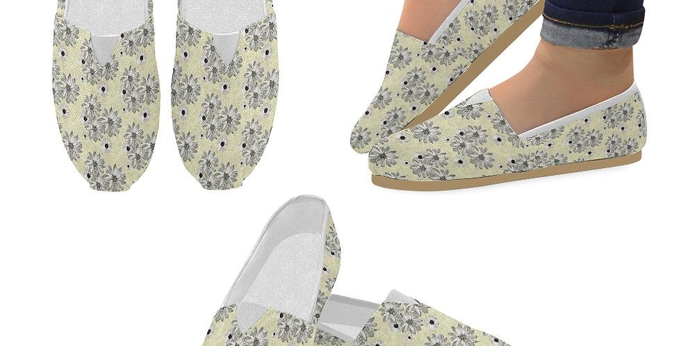 Floral Lemon - Slip On Canvas Shoes