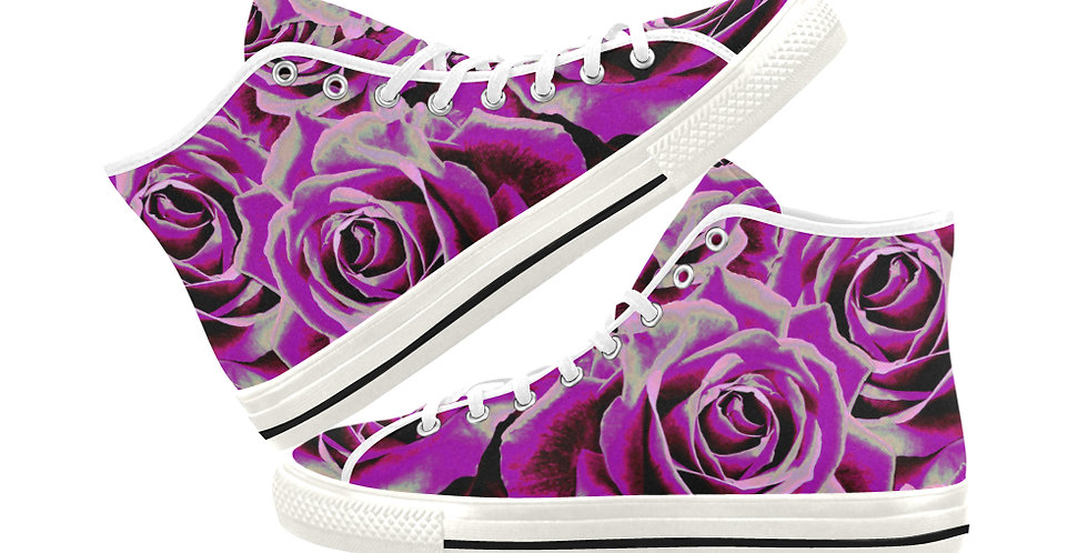 Gypsy Rose Party Pink - Women's High Top Canvas Sneakers