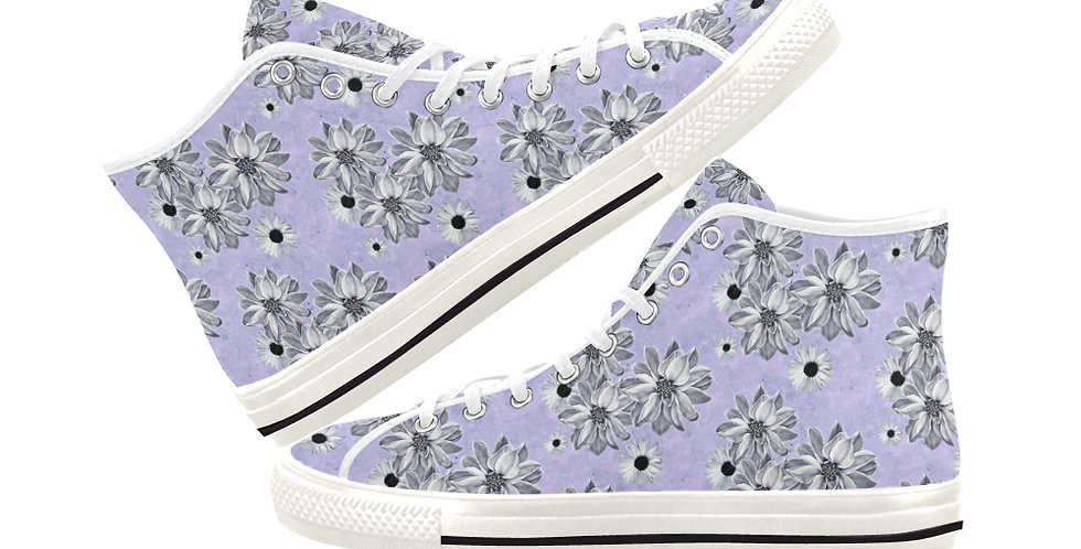 Floral Mauve - Women's High Top Canvas Sneakers
