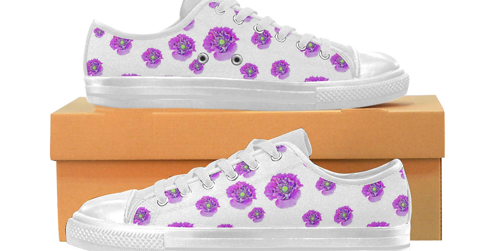 Pink Poppies - Women's Canvas Sneakers
