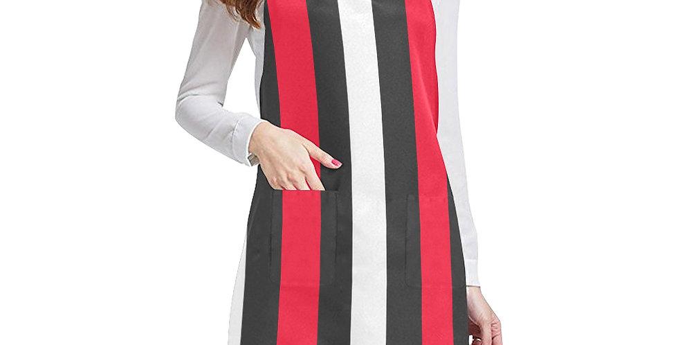 Stripes (red, black, white) Apron - Adjustable