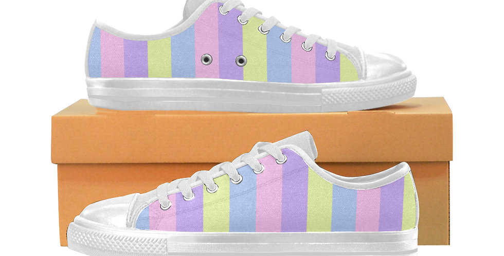 Pastel Stripes - Women's Canvas Sneakers