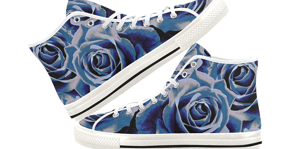 Gypsy Rose Persian Blue - Women's High Top Canvas Sneakers