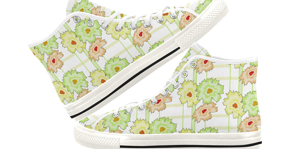 Summer Floral - Women's High Top Canvas Sneakers