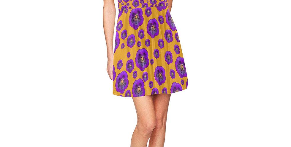 Poppies Orange/Purple - Skater Dress