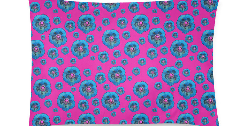 Flower Power hot pink/blue - Cushion Cover
