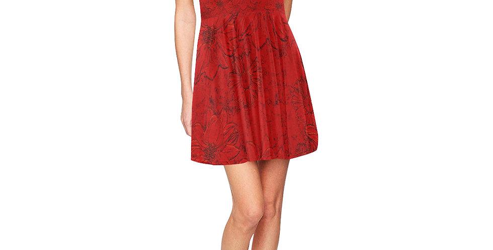 Embossed Floral Red - Skater Dress