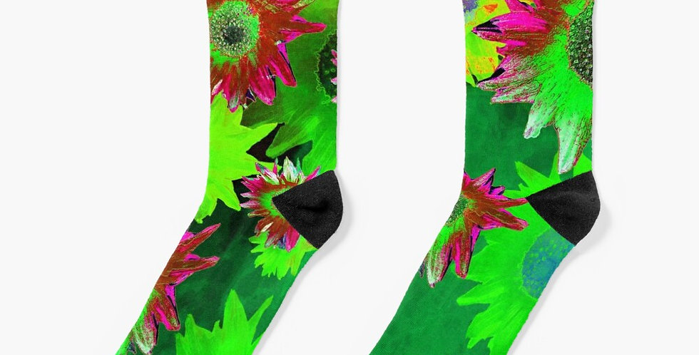 Strawflower Sizzle Green/Pink - Socks