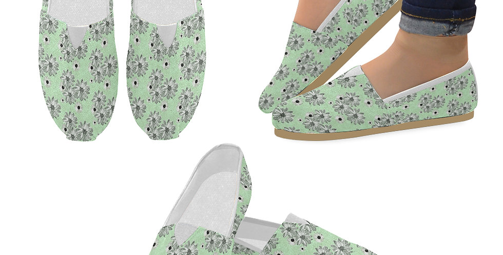 Floral Green - Slip On Canvas Shoes