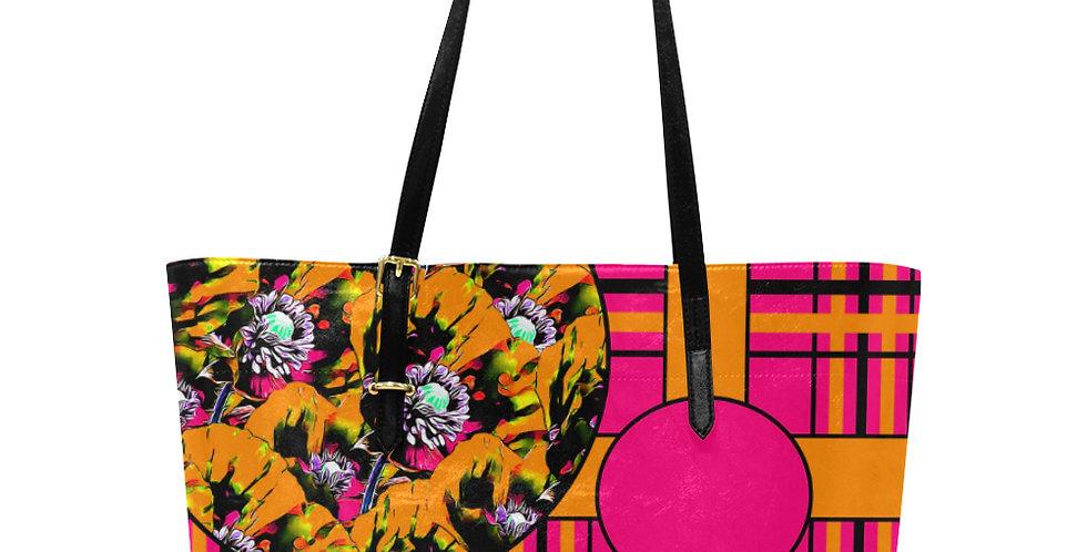 Tartan & Poppies - Orange & Pink - Pattern - Large Tote Bag