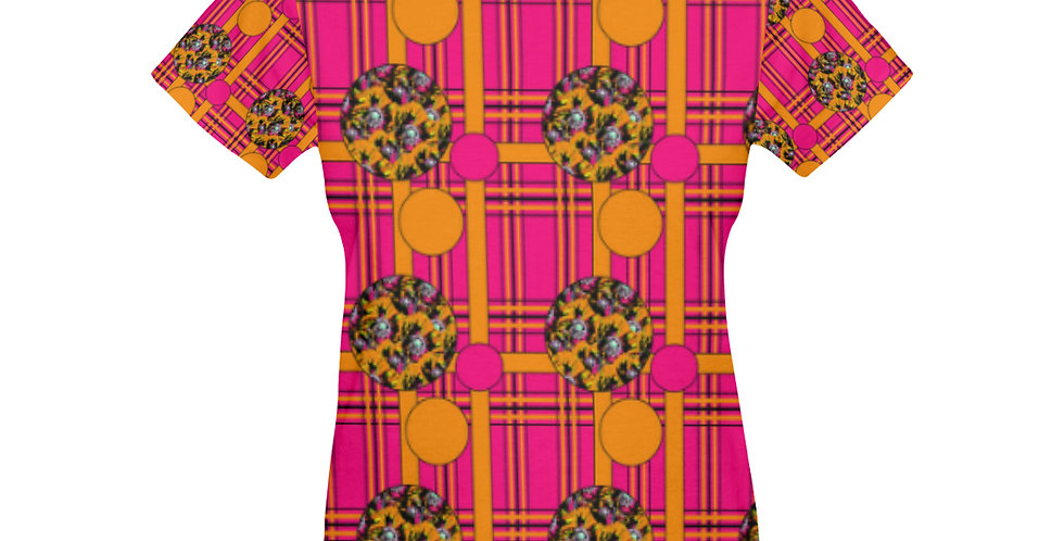 Tartan & Poppies - Orange & Pink - Small Print - T-shirt