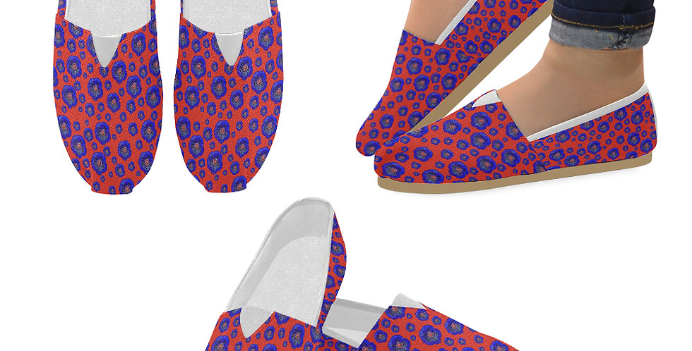 Poppies Red/Blue - Slip On Canvas Shoes