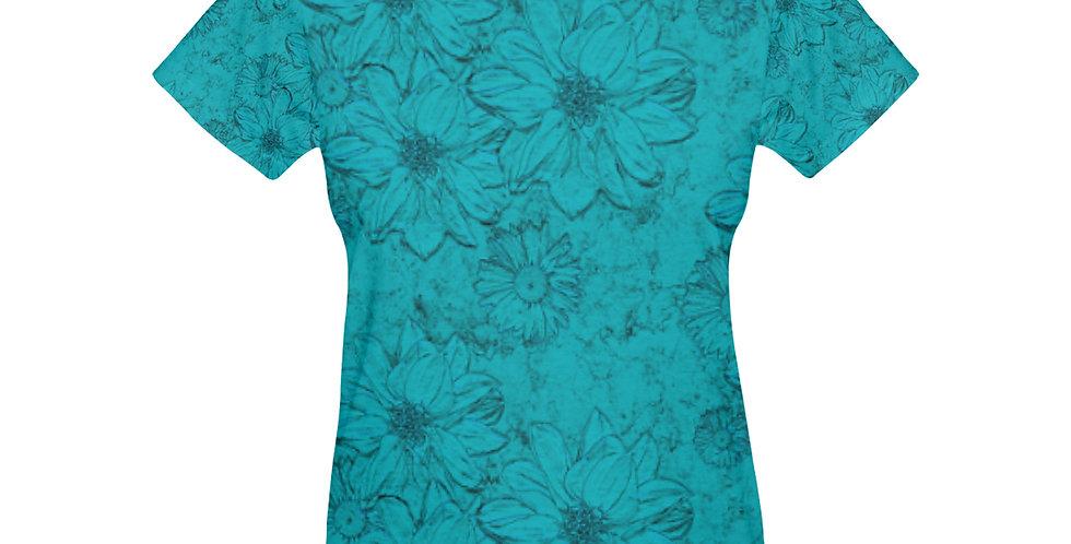 Embossed Floral Blue - T-shirt