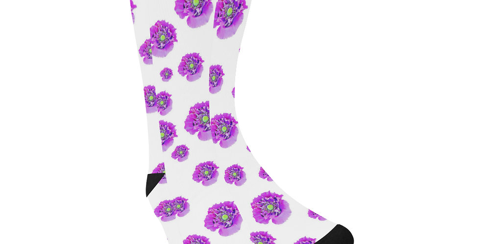 Pink Poppies - Unisex Socks (Made in Australia)