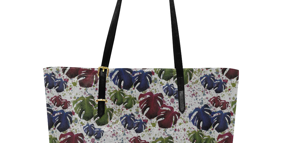 Monstera Red / Blue - Large Tote Bag