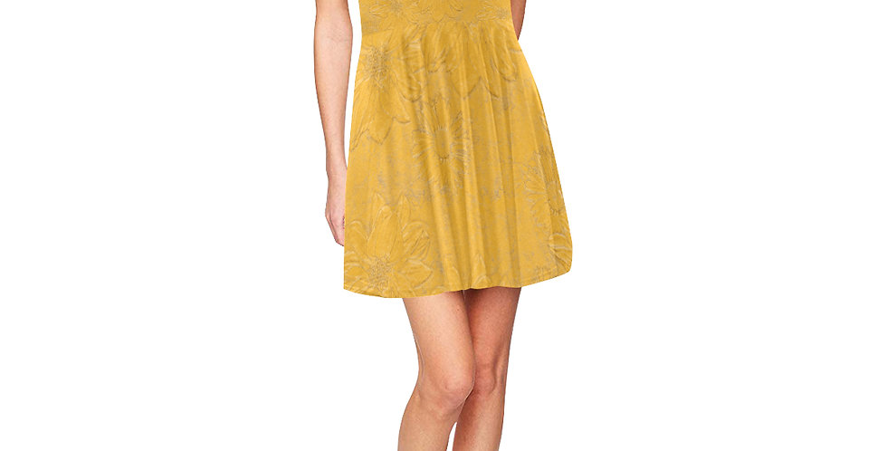 Embossed Floral Yellow - Skater Dress