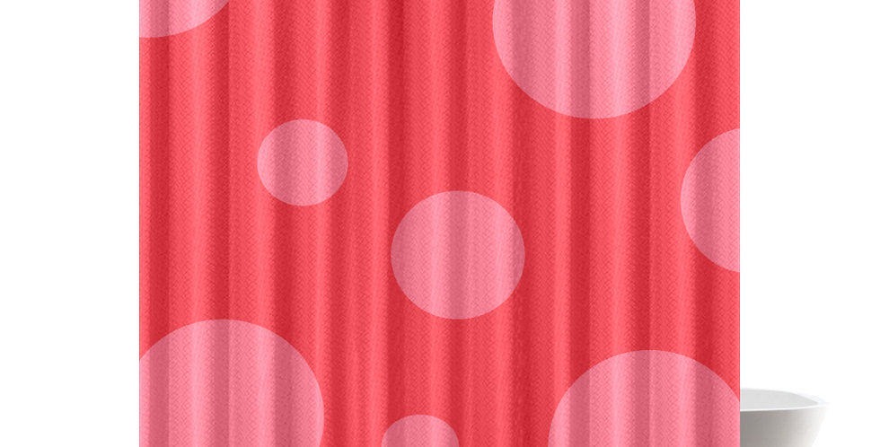 Dottie (Pink Dots on Red Background)- Shower Curtain