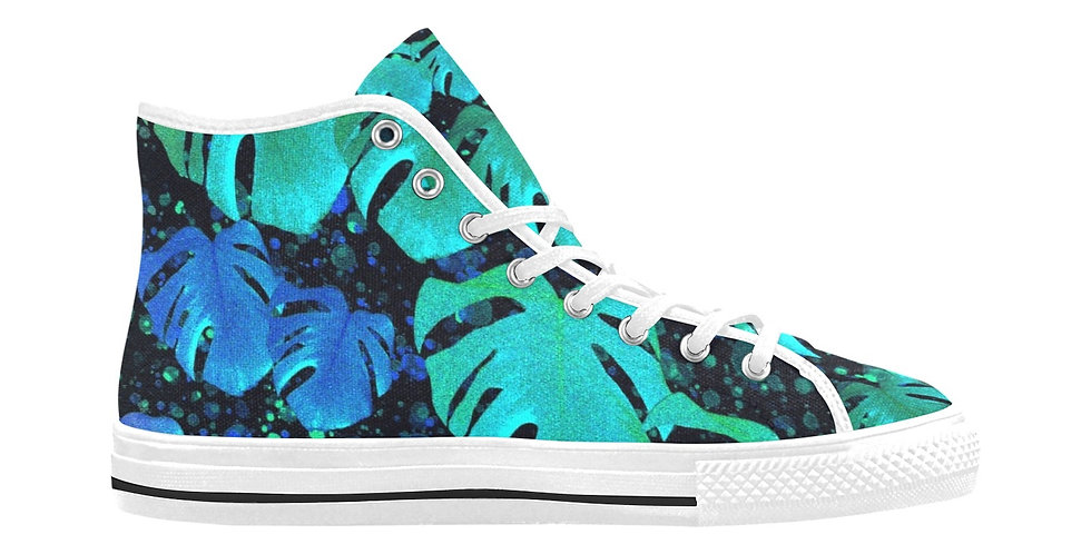 Monstera Leaves Midnight - Women's High Top Canvas Sneakers