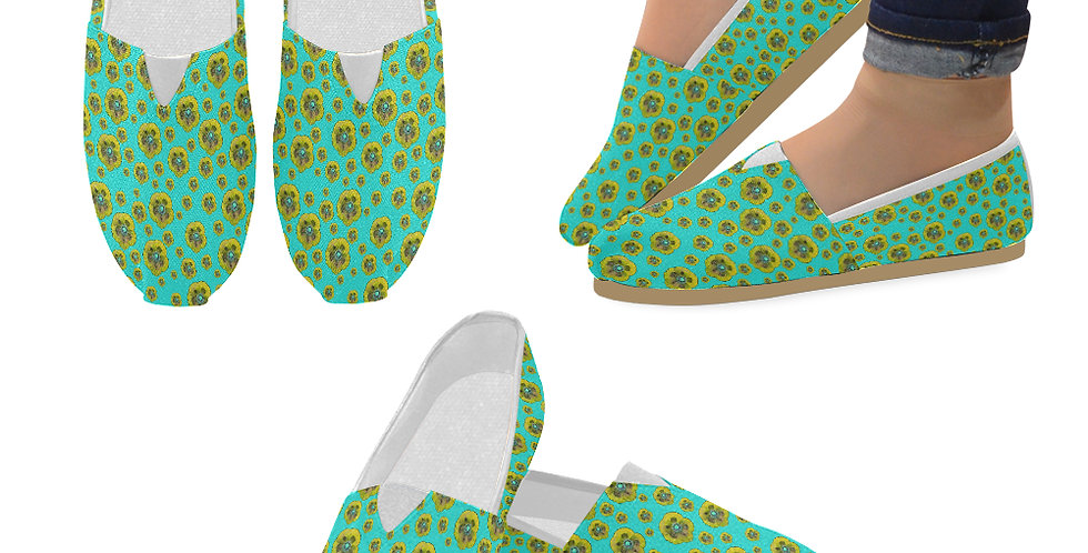 Poppies Aqua/Yellow - Slip On Canvas Shoes