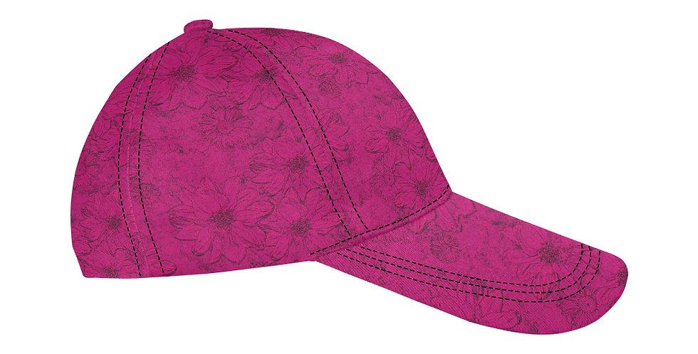Embossed Floral Deep Pink - Baseball Cap