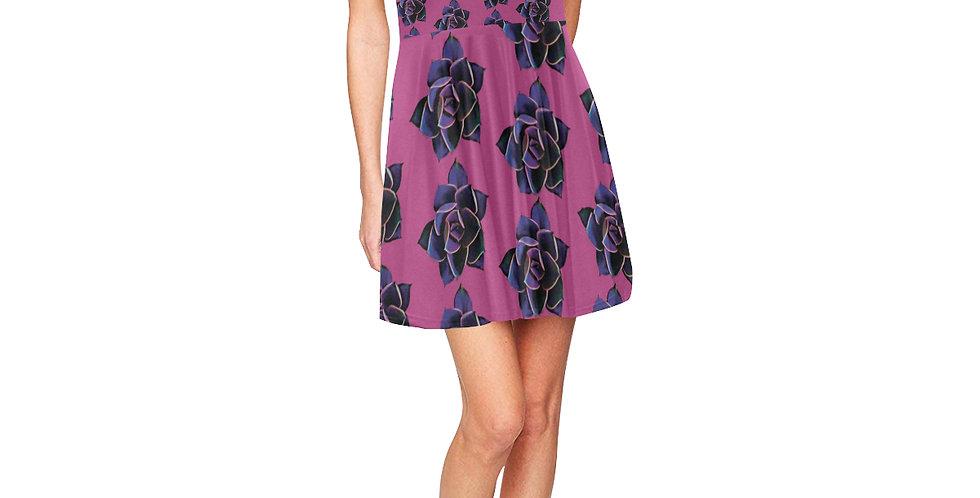 Pink Succulent - Skater Dress