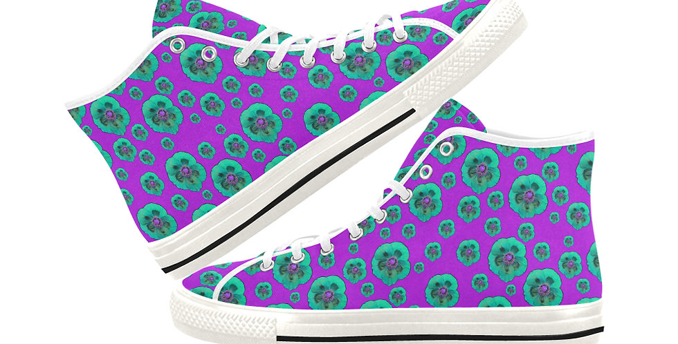 Poppies Purple/Aqua - Women's High Top Canvas Sneakers
