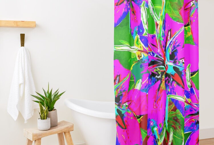 Luscious Liliums - Pink / Green - Shower Curtain