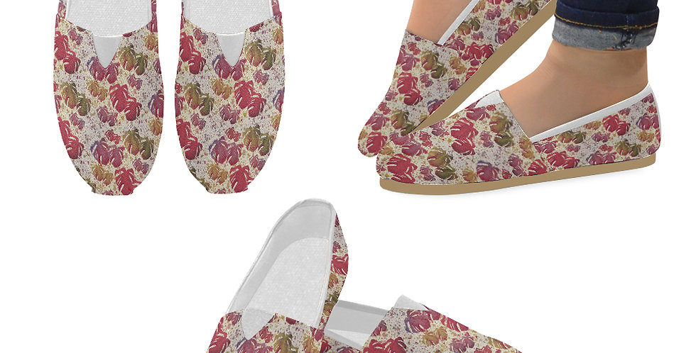 Monstera Leaves Vintage - Slip On Canvas Shoes