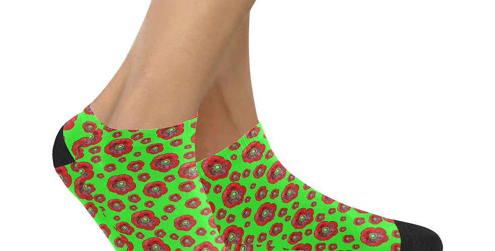 Poppies Green/Red - Ankle Socks