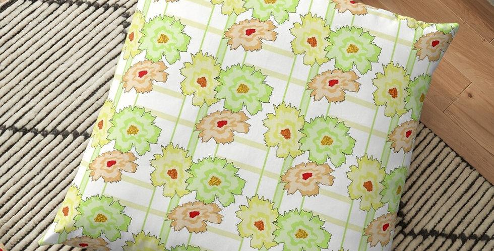 Floral Frenzy - Peach & Green Tones - Cushion Cover