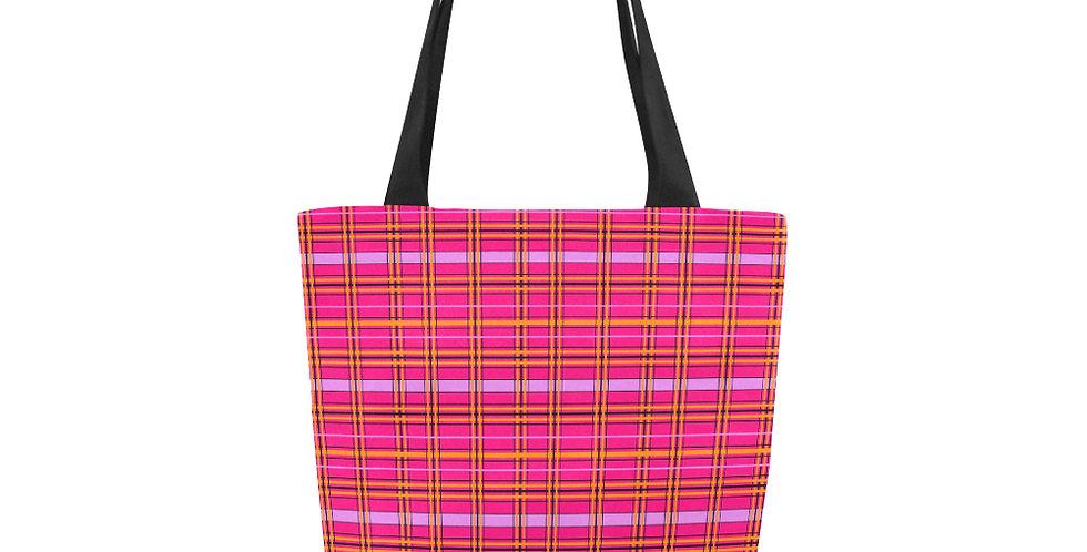 Tartan & Poppies - Orange & Pink - Tartan - Tote Bag