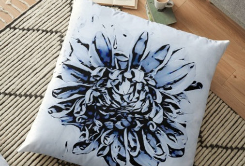 Blue Dahlia Cushion Cover