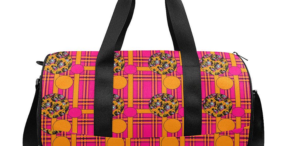 Tartan & Poppies - Orange & Pink - Pattern - Workout/Camping/Travel Duffel Bag