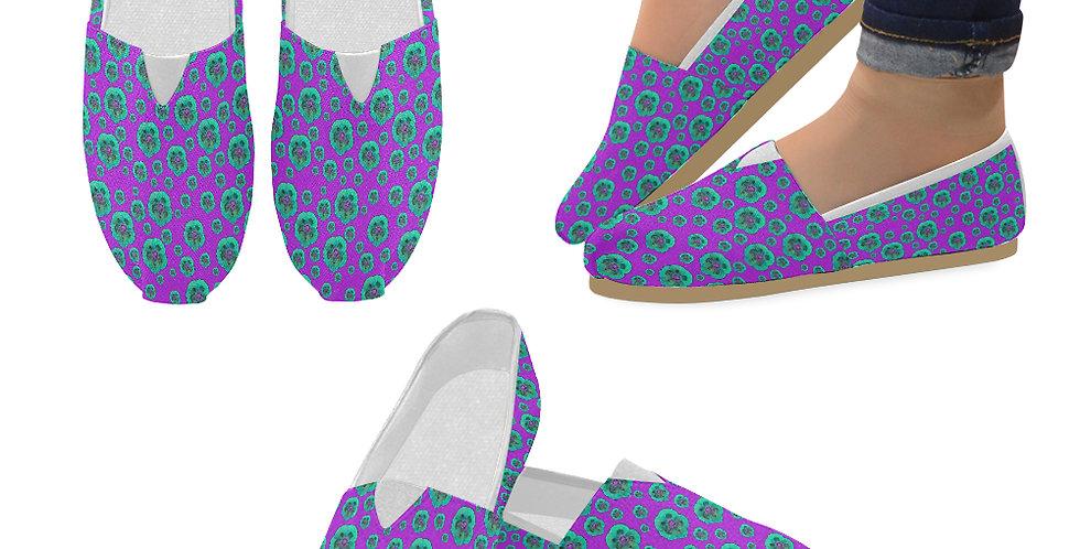 Poppies Purple/Aqua - Slip On Canvas Shoes