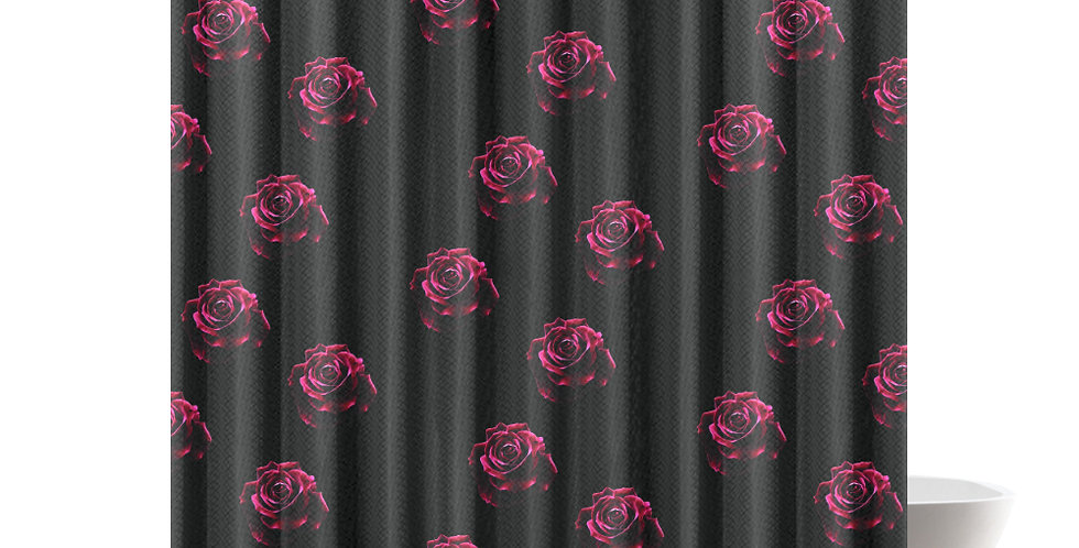 Red Red Roses (small print) - Shower Curtain