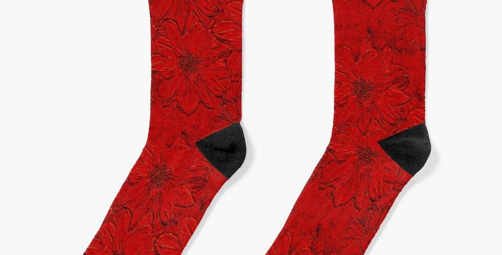 Embossed Floral Red - Socks