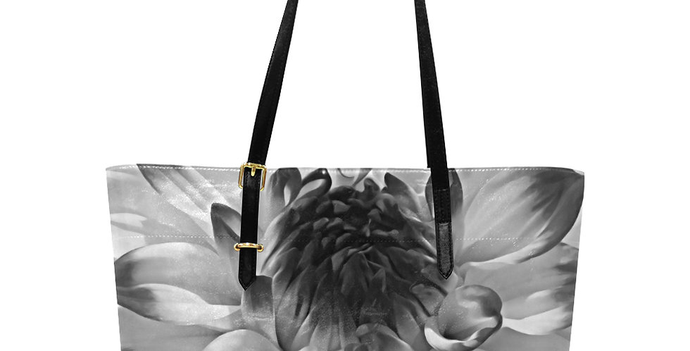 Dahlia Diligence (black and white) - Large Tote Bag