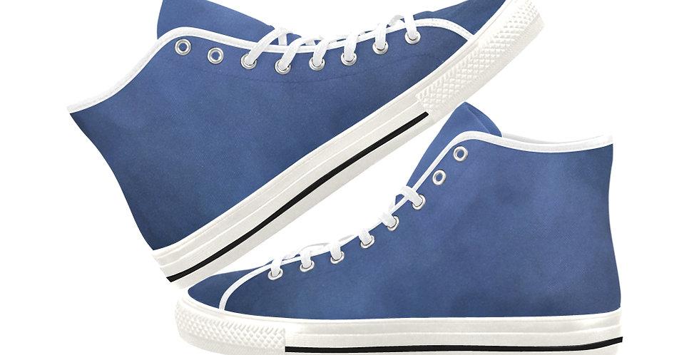 Bearded Iris Blue - Women's High Top Canvas Sneakers